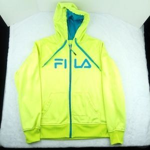 Fila Spell Out Full Zip Hoodie. F. Yellow/ B. Blue